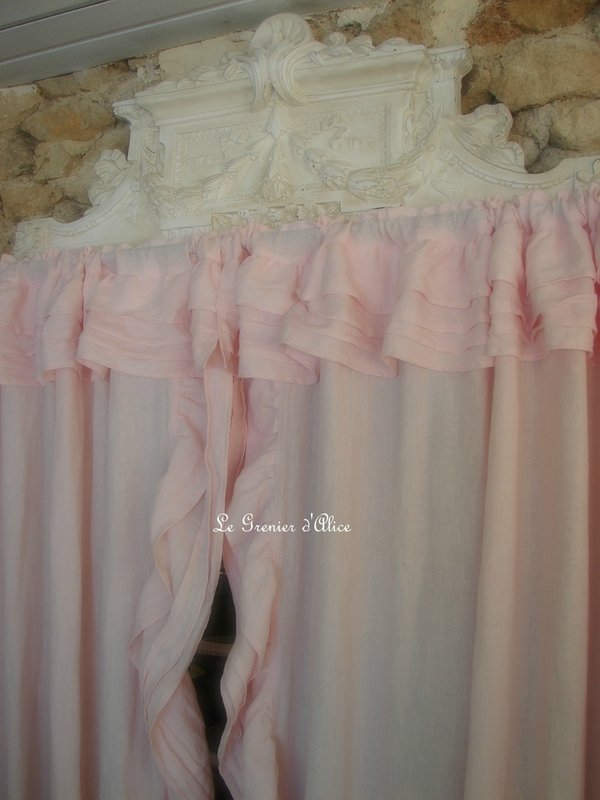 Des rideaux shabby chic lin stone washed rose poudr le - Rideaux shabby chic ...