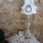 Abat jour gustavien abat jour colerette shabby chic lampshade avec ornement diametre 20 patine lin decoration de charme shabby chanvre chic création originale le grenier dalice