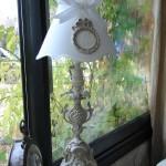 Abat jour gustavien avec ornement diametre 20 patine lin decoration de charme shabby chic création originale le grenier dalice