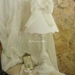 Abat jour shabby chic et romantique lin blanc noeud voile mariée diamètre 25 decoration de charme shabby chic lampshade