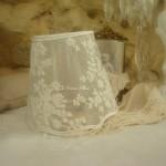 Abat jour shabby chic romantique voile transparent diamètre 10 idéal pour bougeoir et petit lustre