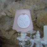 Abat jour shabby chic rose poudré diamètre 10 abat jour pour applique lustre chandelier shabby chic lampshade monogramme decoration romantique gf