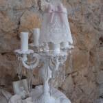Abat jour shabby chic voile dentelle blanche noeud rose poudré diamètre 10 pour chandelier lustre bougeoir decoration shabby chic decoration romantique
