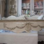 Cantonniere fronton haut de fenetre guirlande de fleurs médaillon ange noeud decoration de charme shabby le grenier d'alice gf