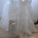 Chaise dentelle voile de mariée housse de chaise noeud et traine decoration de charme shabby chic décoration nordique voile blanc broderie fleur 1