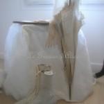 Chaise dentelle voile de mariée housse de chaise noeud et traine decoration de charme shabby chic décoration nordique voile blanc broderie fleur 3