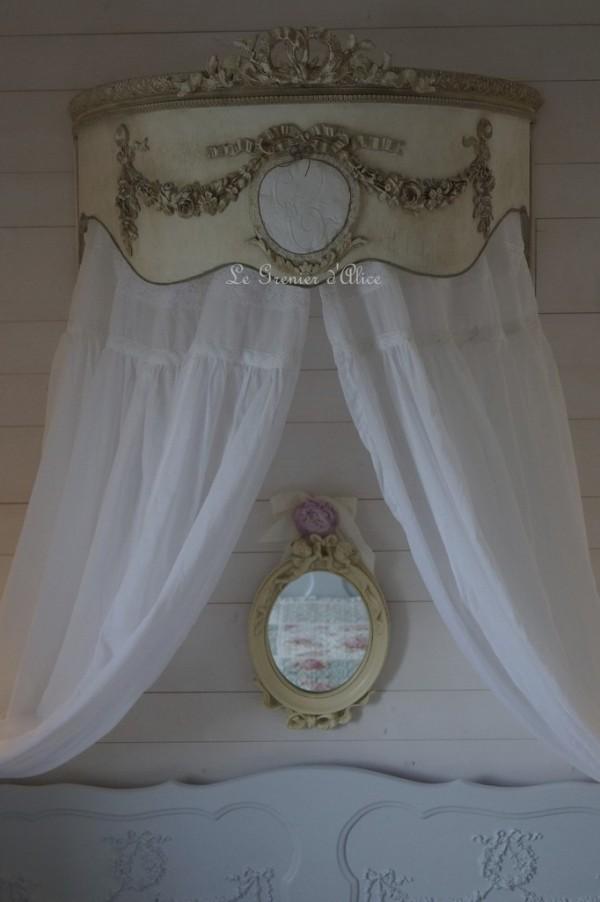 Ciel de lit shabby chic chambre romantique chambre shabby chic ciel de lit patiné lin