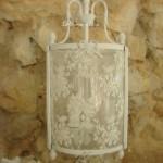 Lanterne abat jour shabby chic lustre trois branche patine blanc poudré pampille cristal abat jour voile de mariée lanterne romantique decoration romantique decoration de charme decoration shabby chic 2