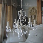 Lustre ancien patiné cinq branches pampilles neuves cristal boutique le grenier d'alice gf