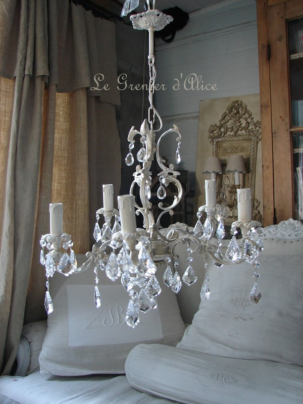 lustre ancien patin cinq branches pampilles neuves cristal boutique le grenier d 39 alice gf le. Black Bedroom Furniture Sets. Home Design Ideas