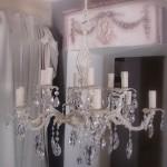 Lustre ancien patiné douze branches avec pampilles décoration de charme boutique Le Grenier d'Alice 1 gf