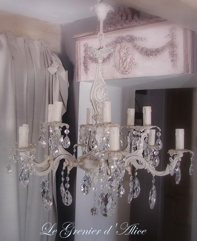 lustre ancien patin douze branches avec pampilles d coration de charme boutique le grenier d. Black Bedroom Furniture Sets. Home Design Ideas