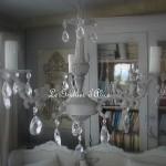 Lustre ancien patiné gris cinq branches pampilles neuves cristal boutique le grenier d'alice gf
