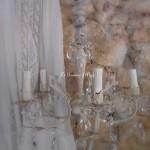 Lustre cinq branches patiné lin pampilles cristal lustre shabby chic pied de lampe patiné lin chaussette tissu decoration romantique decoration shabby chic style shabby