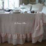 Nappe 150x150 lin rose poudré lin lavé froissé stone washed linen shabby chic décoration de charme décoration romantique boutique le grenier d'alice 2