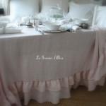 Nappe 150x150 lin rose poudré lin lavé froissé stone washed linen shabby chic décoration de charme décoration romantique boutique le grenier d'alice 3