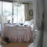 Nappe 150x150 lin rose poudré lin lavé froissé stone washed linen shabby chic décoration de charme décoration romantique boutique le grenier d'alice 4