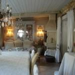 Salle à manger lustre pampilles appliques monogramme chanvre abat jour decoration de charme shabby chic shabby romantic