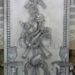 Applique patinée création originale avec ornement attribut de musique deux bougeoirs pampilles décoration de charme boutique Le Grenier d'Alice