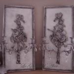 Applique patinée création originale avec ornement attribut de musique deux bougeoirs pampilles décoration de charme boutique Le Grenier d'Alice gf