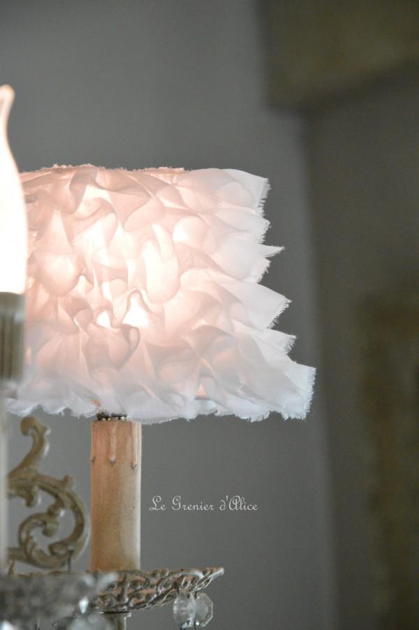 Abat jour romantique abat jour shabby chic lampshade tissu organdi blanc abat jour pyramide carré decoration de charme cosy