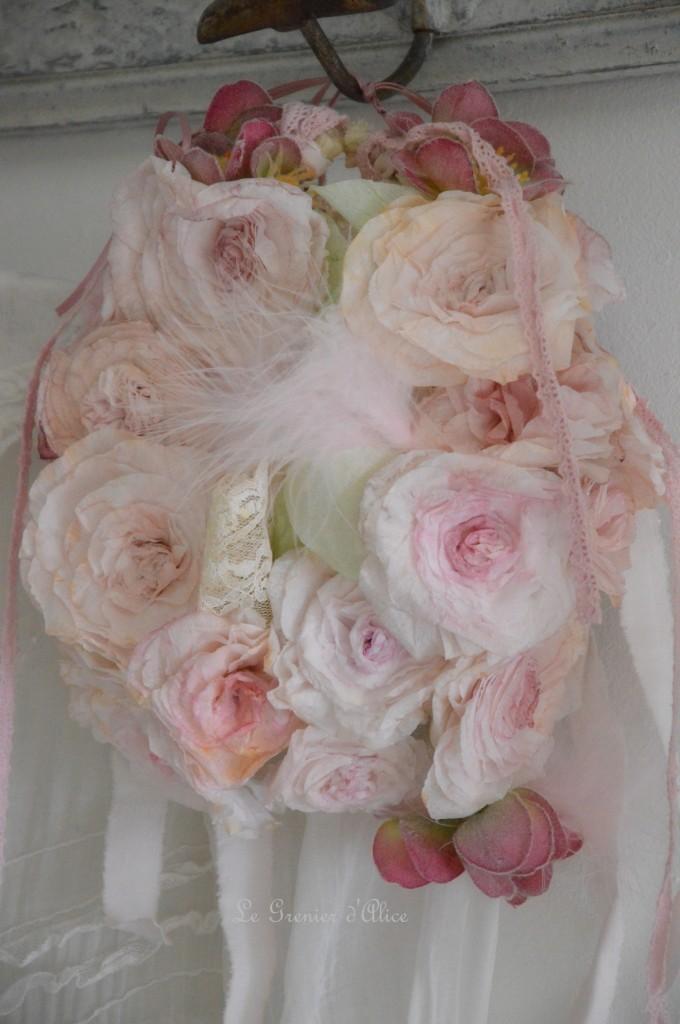 Rose papier crépon teintée shabby chic romantique romantic rose paper dentelle ruban 1