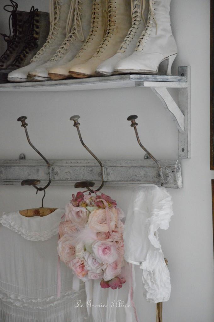 Rose papier crépon teintée shabby chic romantique romantic rose paper dentelle ruban