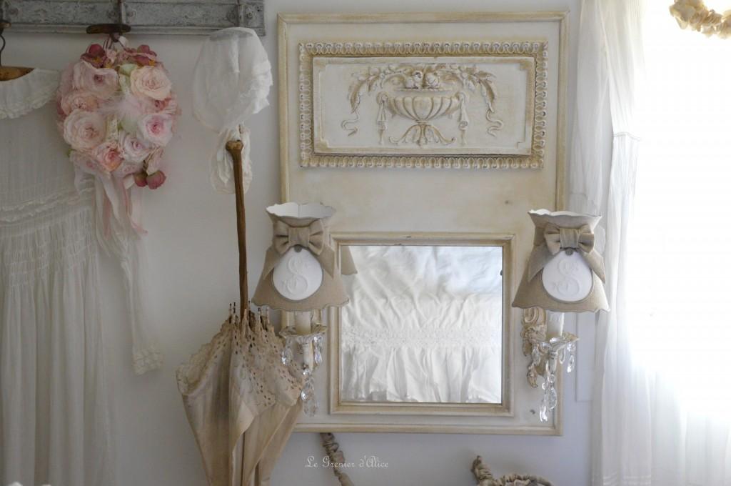 miroir trumeau applique pampille cristal patin patine lin abat jour romantique abat jour. Black Bedroom Furniture Sets. Home Design Ideas