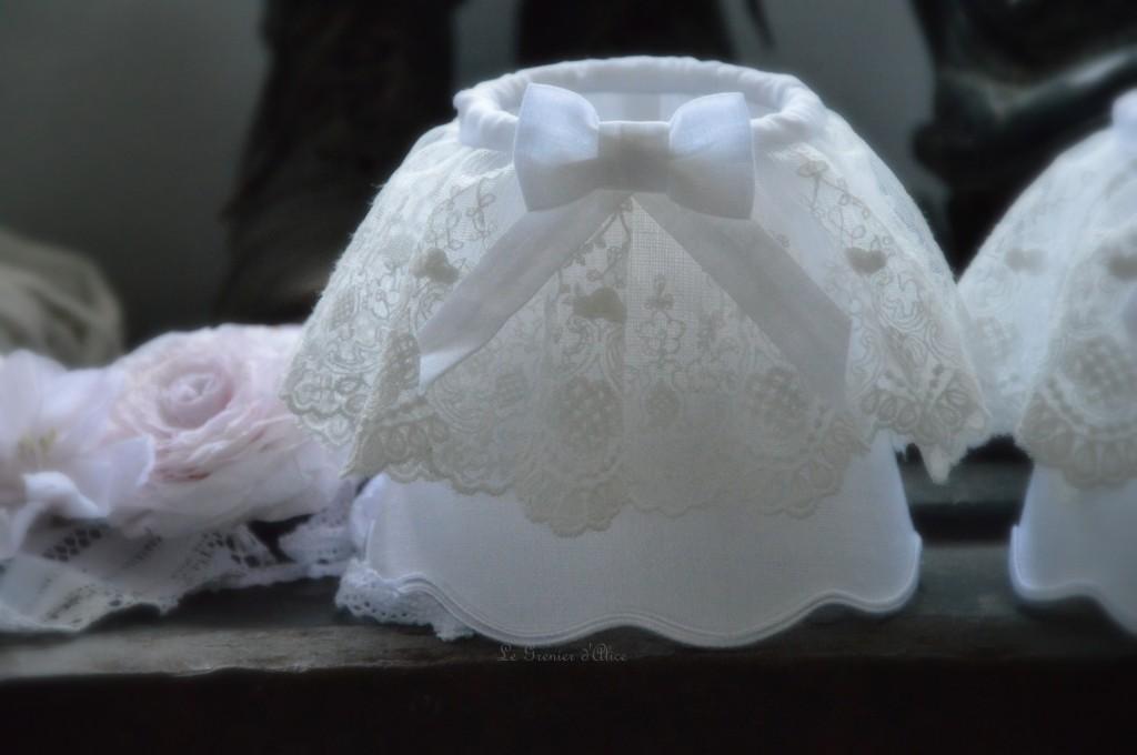 abat jour romantique froufrou shabby chic lin lavé froissé stone washed dentelle blanche voile mariée shabby paralume romantico paralume lampenschirm romantisch shabby chic romàntico pantalla