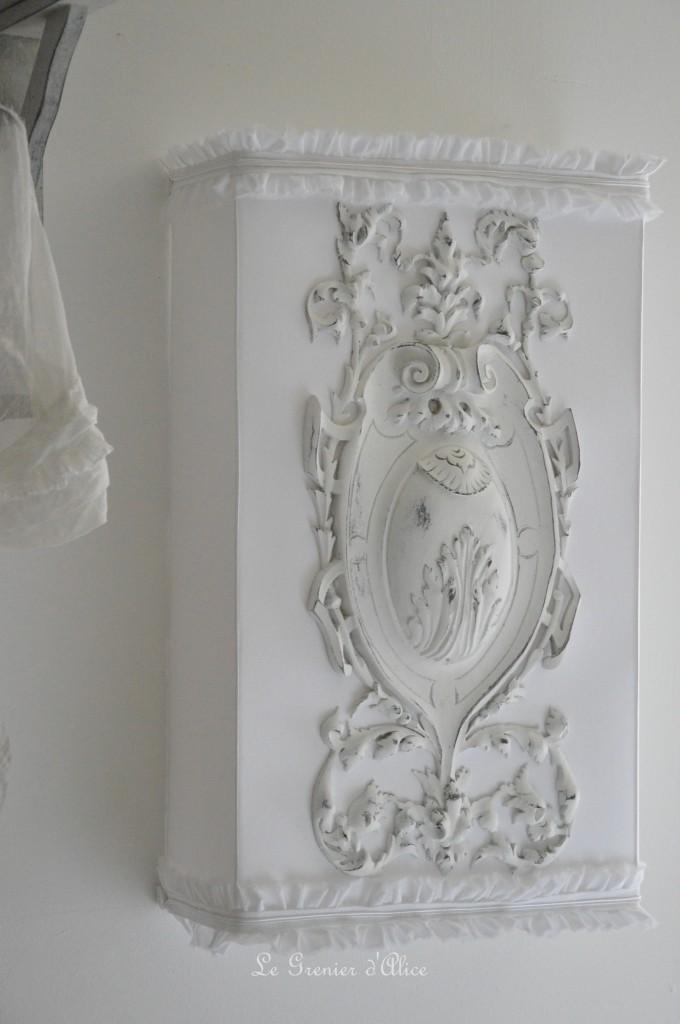 Abat jour écran 50x30 abat jour shabby chic et romantique froufrou romantic and shabby chic style abat jour ornement patiné blanc patine blanchie blanc vieilli création le grenier d'alice