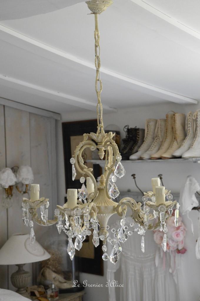 Lustre cinq branches patine lin lustre shabby chic lustre pampilles cristal lustre romantique boutique le grenier dalice