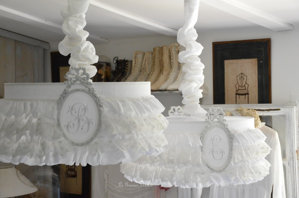 Suspension abat jour froufrou dentelle blanche volant shabby chic lampshade romantic romantique suspension abat jour chambre à coucher
