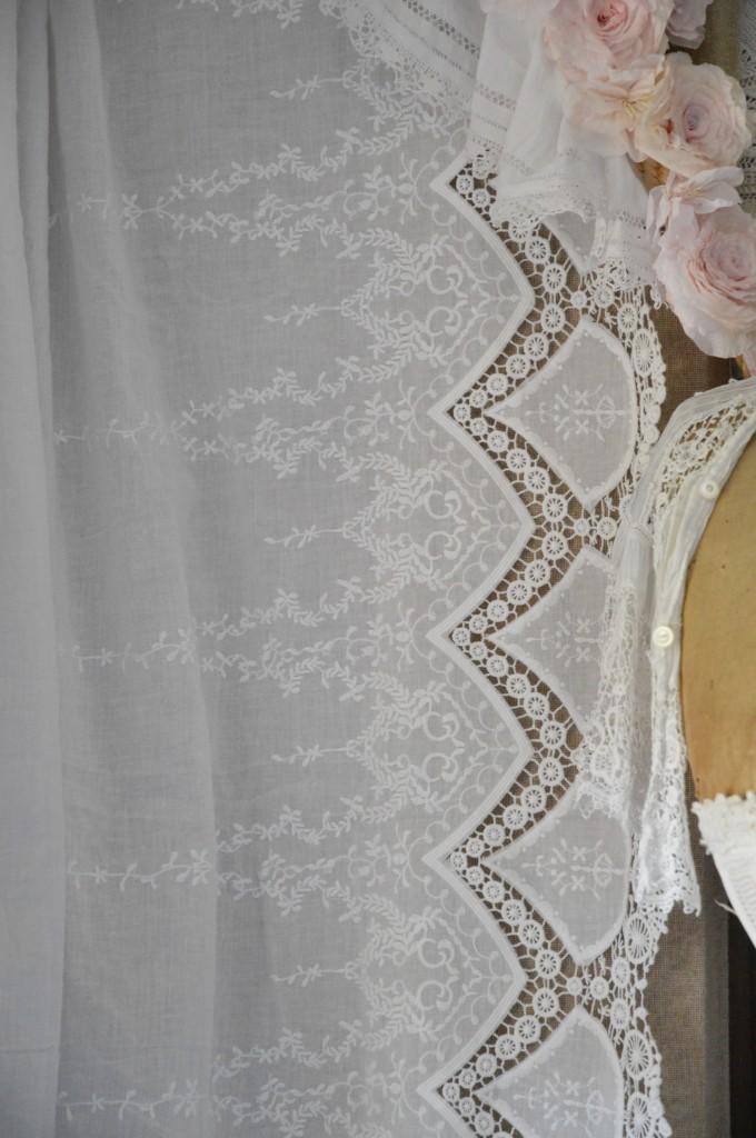 Tissu blanc coton rose poudré broderie dentelle tissu shabby chic tissu romantique tissu rideau coussin taie oreiller edredon housse de couette 2