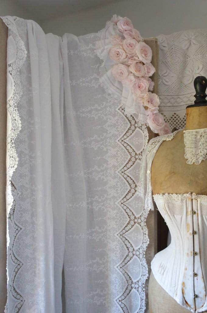 Tissu blanc coton rose poudré broderie dentelle tissu shabby chic tissu romantique tissu rideau coussin taie oreiller edredon housse de couette 3
