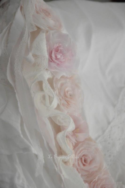 Guirlande couronne fleur rose papier crepon rose shabby chic dentelle blanche dentelle mariée ruban shabby rose papier romantique rose poudré romantic rose 6