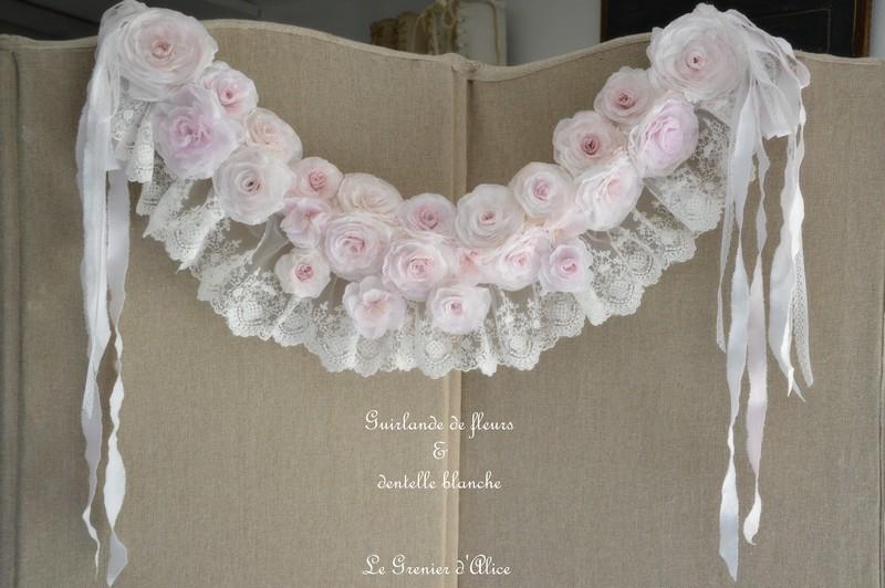Guirlande couronne fleur rose papier crepon rose shabby chic dentelle blanche dentelle mariée ruban shabby rose papier romantique rose poudré romantic rose