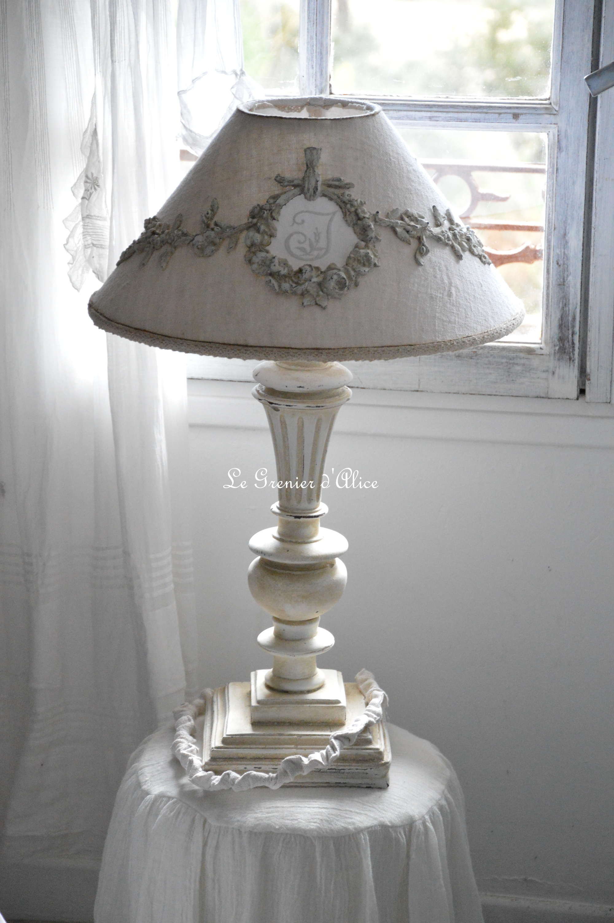Relooking lampe de chevet le grenier d 39 alice for Table pour lampe de salon