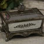 Boite N° 3 style shabby chic romantique ancien verre argent nacre poudre charme exquis baroque collection de boites pilule