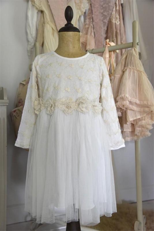 Robe enfant fée vintage Jeanne d Arc Living tulle broderie dentelle blanche romantique shabby chic nordique
