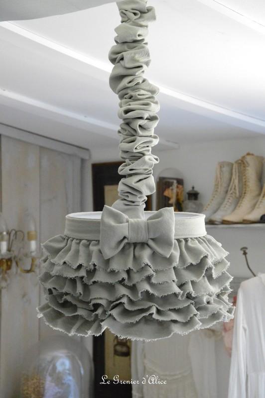 Abat jour suspension froufrou coton gris épais abat jour shabby chic ruffle lampshade chaussette lustre creation le grenier dalice gf