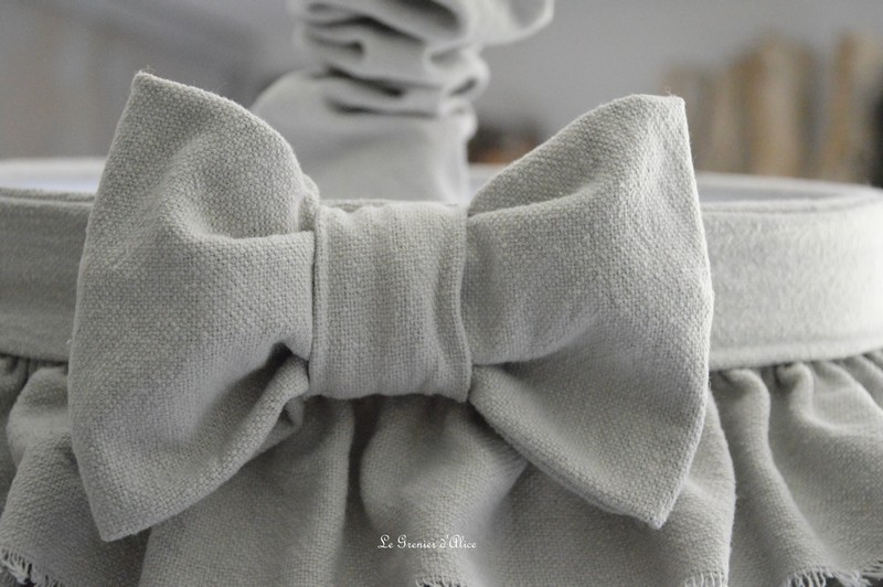Abat jour suspension froufrou coton gris épais abat jour shabby chic ruffle lampshade chaussette lustre creation le grenier dalice gf2