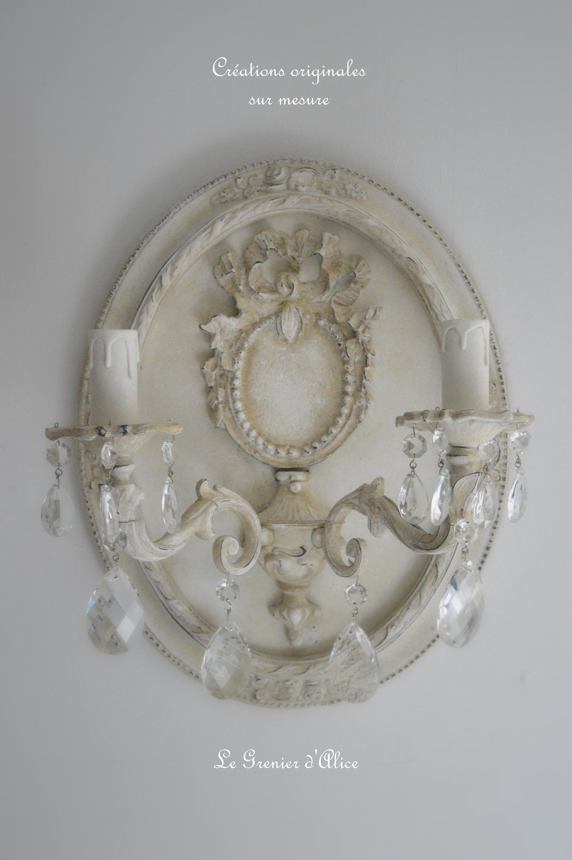Applique romantique shabby chic creation le grrenier dalice patine lin pampille cristal cadre oval applique ancienne deux branches