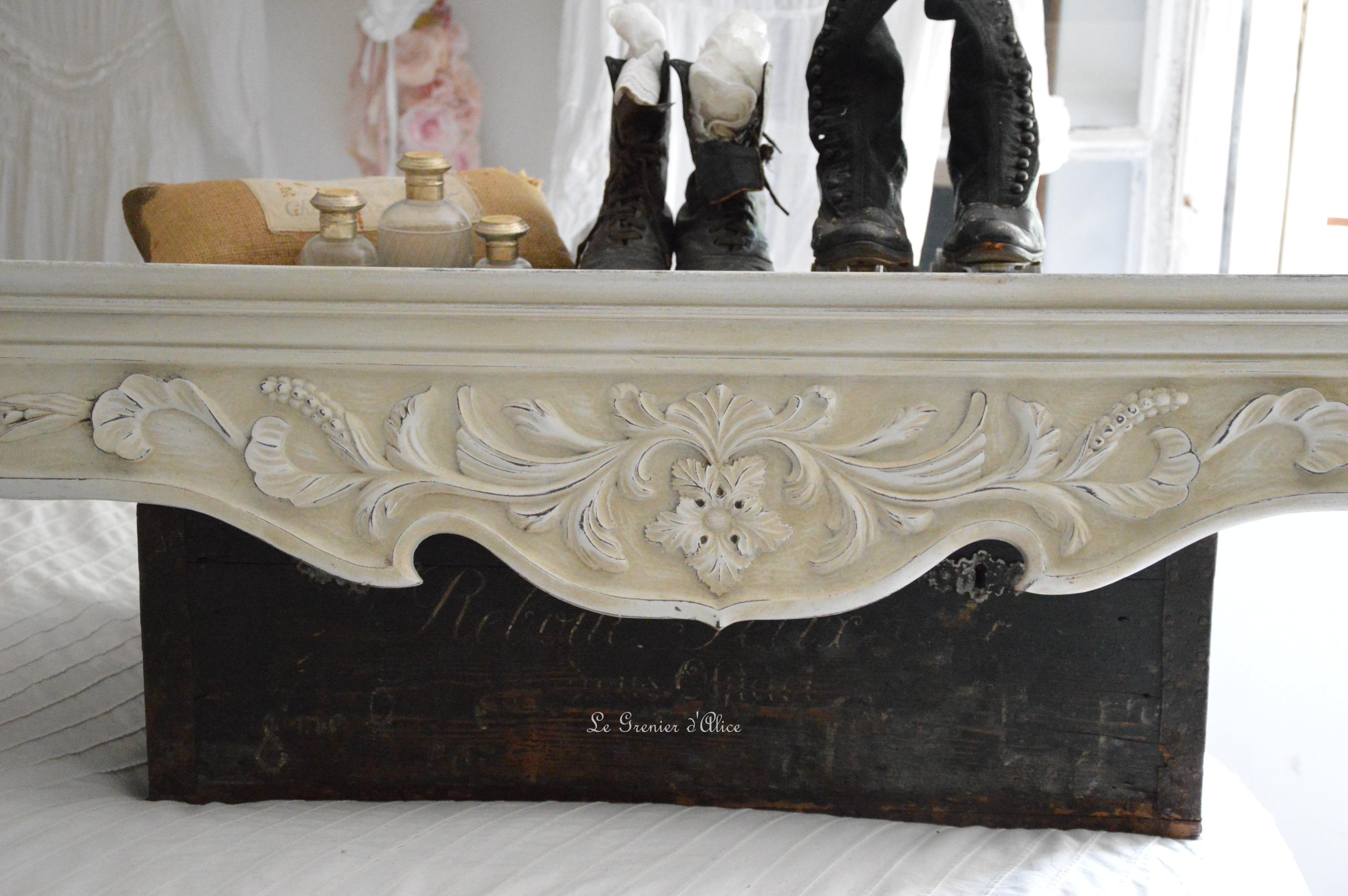 Cantonnière ciel de lit étagère shabby chic romantique création le grenier dalice
