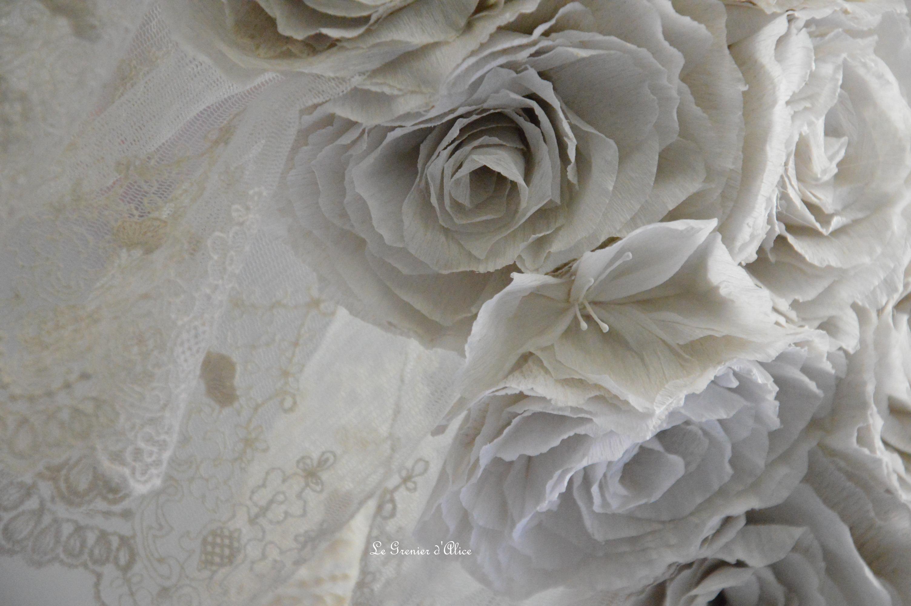 Guirlande rose papier crepon rose poudré couleur lin shabby chic romantique romantic rozen couronne rose dentelle voile mariée jute ruban 4