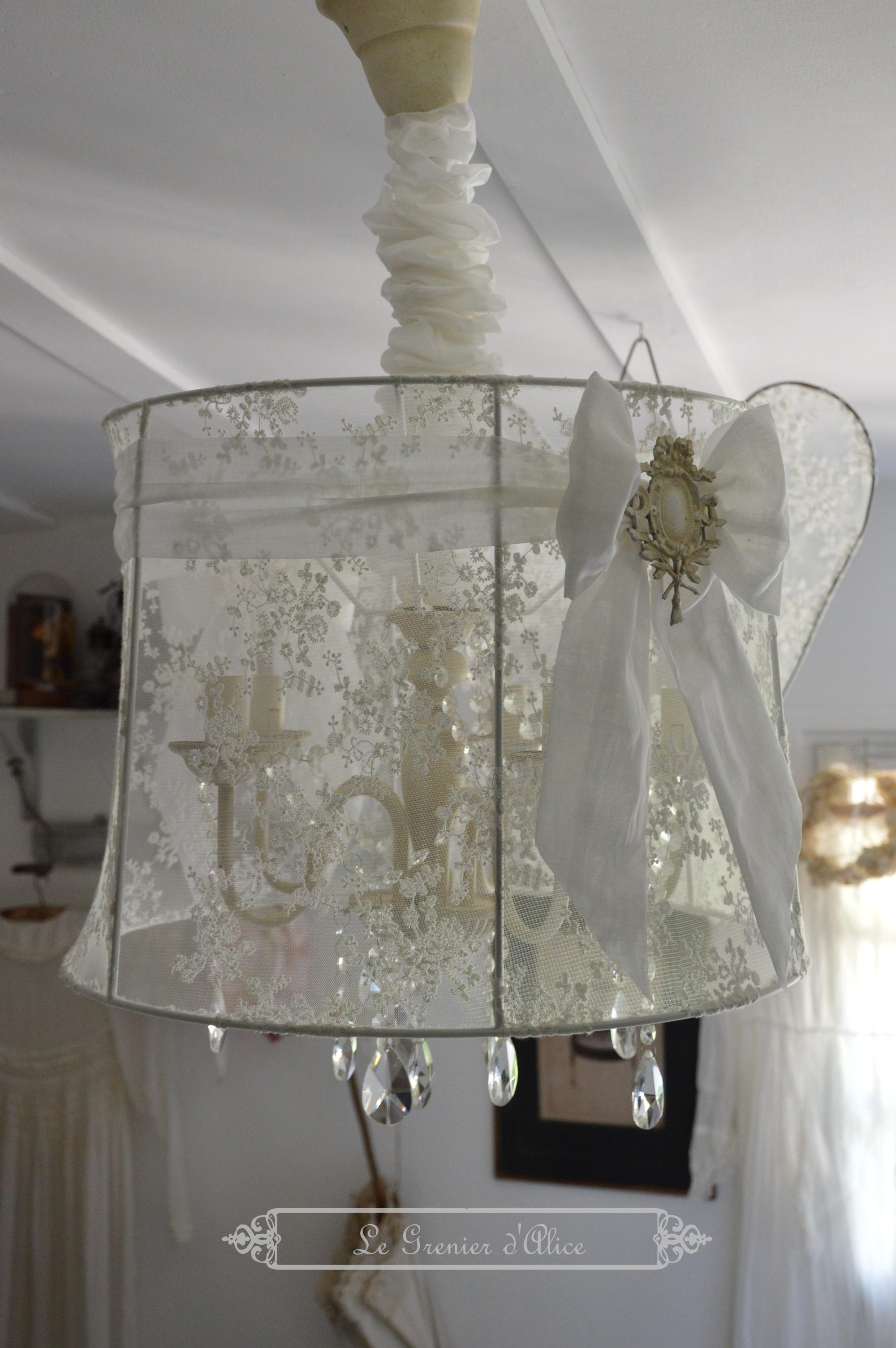 Suspension abat jour lustre aile d ange relooking tulle broderie voile de mariée organdi blanc romantique shabby chic vintage french decor nordique scandinave 2