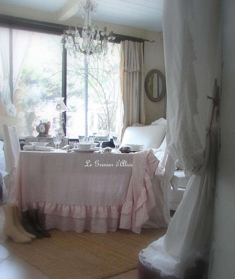 Nappe 150x150 lin rose poudr lin lav froiss stone washed linen shabby chic d coration de - Decoration de charme ...