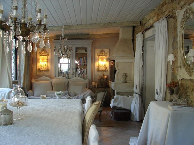 Salle manger lustre pampilles appliques monogramme chanvre abat jour decoration de charme - Decor de charme ...
