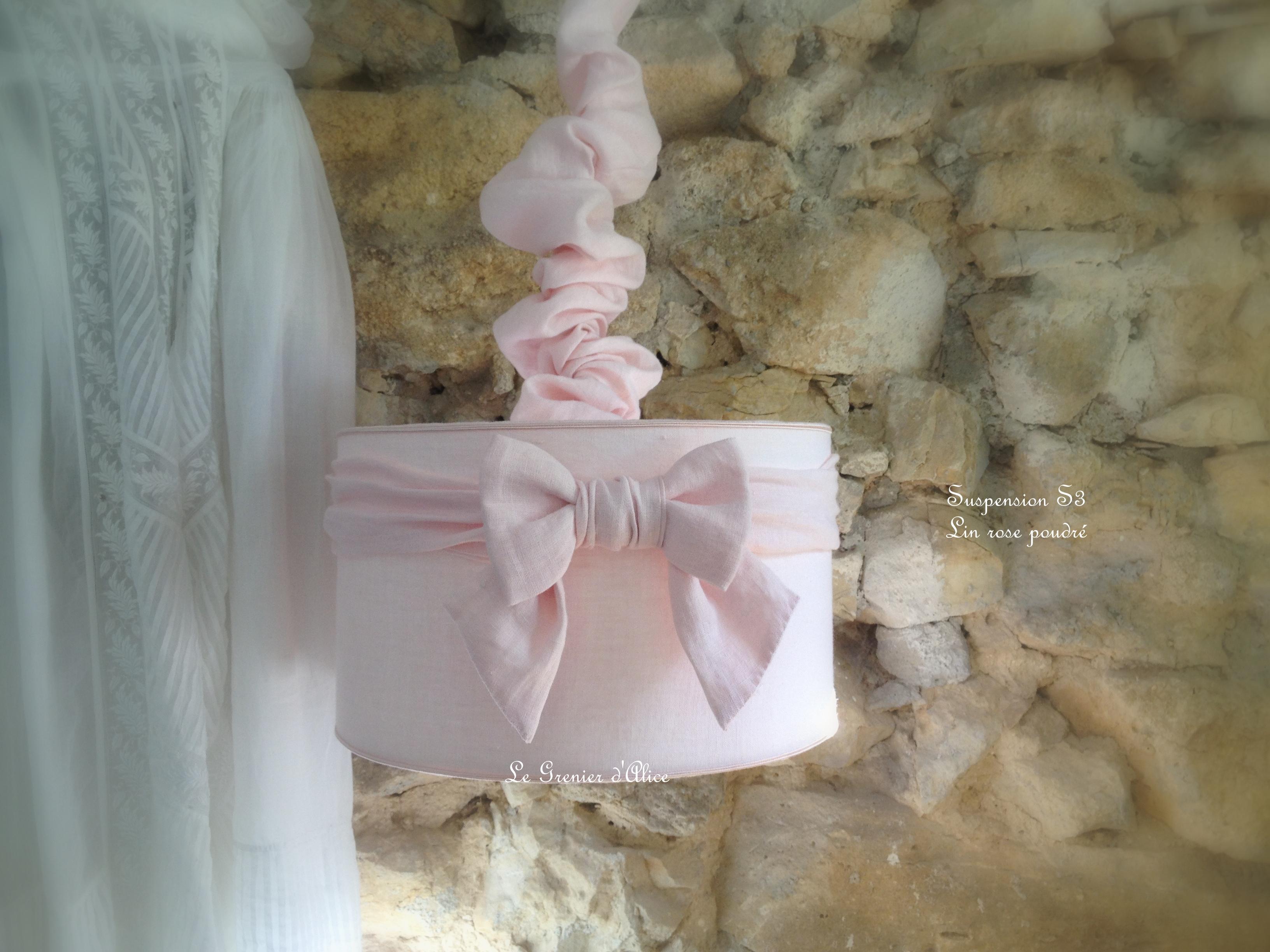 Abat Jour Suspension Cylindrique Rose Poudré Pour Chambre Enfant