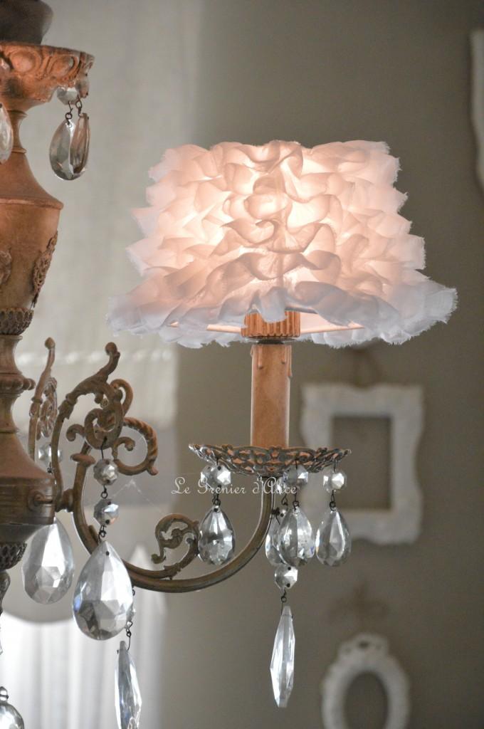 Abat jour romantique abat jour shabby chic lampshade tissu organdi blanc abat jour pyramide carré decoration de charme cosy 1