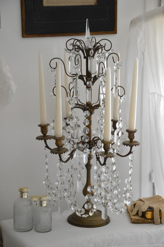 Candelabre girandole bougeoir 6 branches romantique shabby chic pampille cristal reproduction ancien decoration interieure cosy charme french cottage french style 1